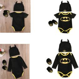 Newborn Baby Boy Girl Clothes Batman Rompers+Shoes+Hat Costu