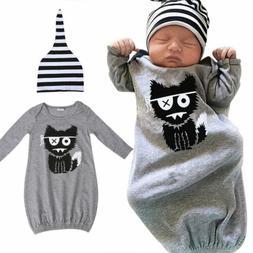 Newborn Baby Boy Girl Cotton Sleepwear Pajamas Robe Gown Hat