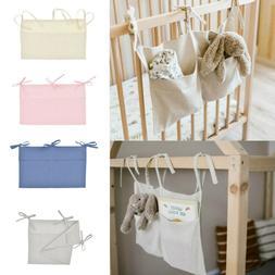 Newborn Baby Crib Pocket Nursery Organizer Solid Bedside Toy