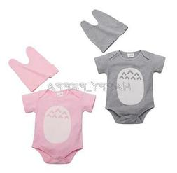 Newborn Baby Girls Boys Cartoon Totoro Romper Hat Suit 2PCS