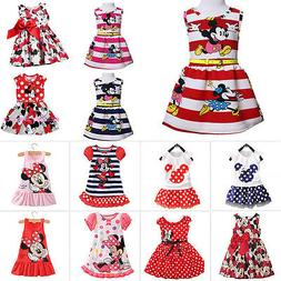 Newborn Baby Girls Minnie Mouse Dress Kids Cartoon Summer Ve
