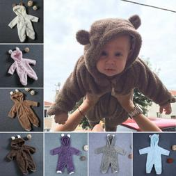 Newborn Baby Kids Hooded Romper Fleece Bear Jumpsuits Bodysu