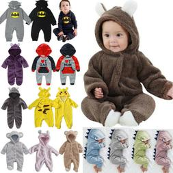 Newborn Baby Kids Hooded Tracksuit Outfit Dinosaur  Romper J