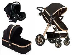 Newborn Infant Baby 3 in 1 Car seat stroller Bassinet basket