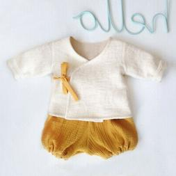 Newborn Infant Baby Boy Girl Kimono T-shirt Tops Shorts Outf