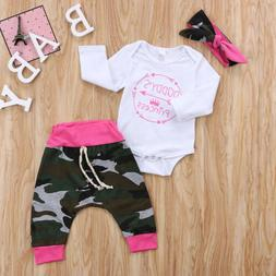 Newborn Infant Baby Girl Camouflage Outfit Clothes Romper To
