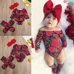 Newborn Kid Baby Girl Floral Clothes Off Shoulder Romper+Soc