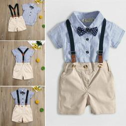 Newborn Kids Baby Boy Gentleman 2PCS Outfits Sets Romper + B