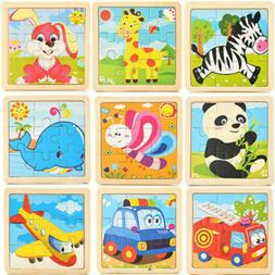 Newborn Toddler Baby Wooden Animal Puzzle Toy  Early Educati