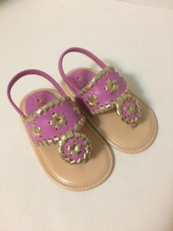 NIB My First Jacks JACK ROGERS Sandals Pink/Gold Size 4 Cute