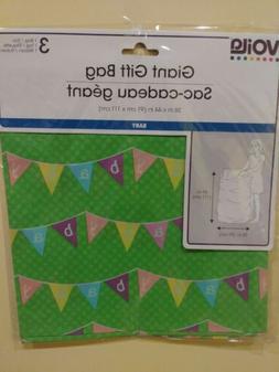 NIP JUMBO Gift Bag New Baby Pennant Shower Green Wrapping Ba