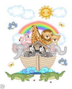 Noahs Ark Wall Mural Decals Bible Story Baby Nursery Safari
