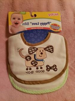 NUBY Bibs 2Piece 2-Pack Cloth Velcro Closure Puppy Love. New