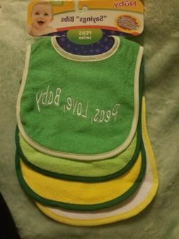 """NUBY """"Sayings"""" Bibs 4 Pack Peas Series Terry Cloth Velcro Gi"""