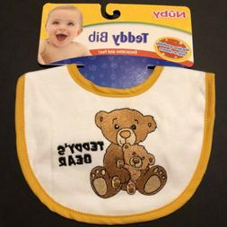 Nuby Teddy Bear Baby Feeding Bib Machine Washable 100% Cotto