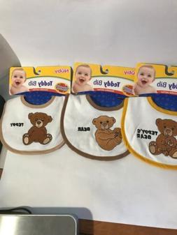 Nuby Teddy Bear Baby Feeding Bibs 3-Pack Machine Washable 10