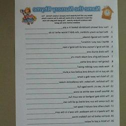 20 Sheets Nursery Rhyme Baby Shower Game