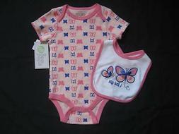 NWT! Baby Gear 3-6M Girls Pink Butterfly Bodysuit w/ Matchin