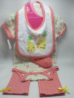 NWT Baby Gear 4 Piece Baby Outfit Set - Bib, Socks, Bodysuit