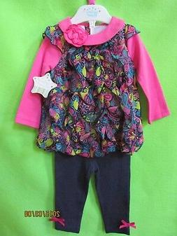 NWT 'NURSERY RHYME' BABY GIRL 2-PC TOP & PANTS SET SIZE 12 M