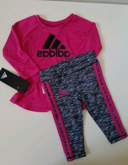 NWT Adidas Baby Girls 2Piece Legging Set Magenta Size 3M
