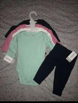 NWT CARTERS Girl 4 PC Long Sleeve Bodysuit & 1 Pants Toys R