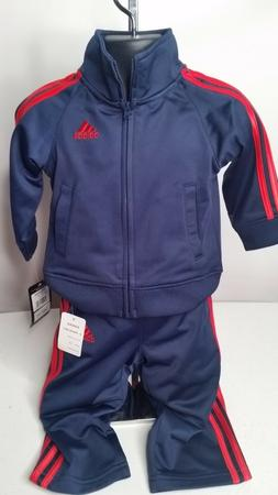 NWT Infants Blue Adidas Sweatsuit w/Red Logo and Stripes 12M