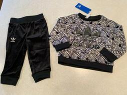 NWT Adidas Originals Baby Girl's Zebra Crew Pants Set Blac