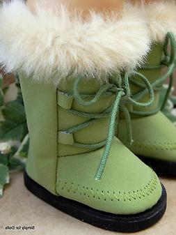 "OLIVE GREEN Suede Fur-Trim DOLL BOOTS SHOES fits 18"" AMERICA"