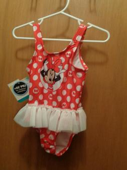 Disney One Piece Red Minnie Mouse Bathing Suit Baby Girl Tul