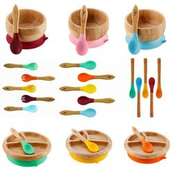 Avanchy Organic Bamboo Baby Bowl or Plate with Suction + Spo