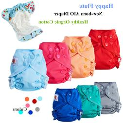 Happy Flute Organic Cotton Newborn AIO Cloth Diaper Double G