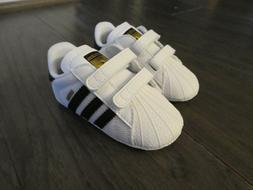 Adidas Originals Superstar Crib shoes baby new white black S
