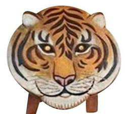 Painted Safari Tiger Child Bath Hand Carved Wood Bath Kitche