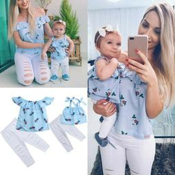 Parent-child Clothes Sleeveless Ruffles Floral Print Tops +