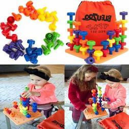 Peg Board Set Montessori Stacking Toys For Toddlers Fine Mot