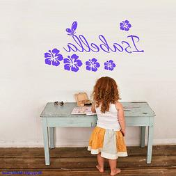 PERSONALISE Name & Butterfly,Hibiscus Removable wall sticker