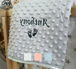 PERSONALISED BABY BLANKET EMBROIDERED SOFT BUBBLE ITALIC FON