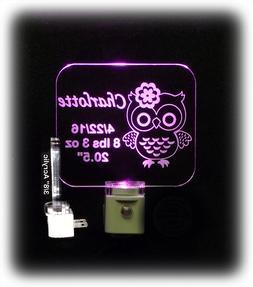 Personalized Baby LED Night Light, Owl, Newborn Gift,  Nurse