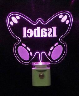 Personalized Butterfly LED Night Light, Girls Nursery Lamp B