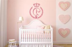 Personalized Initial Princess Baby Girl Nursery Wall Decal D