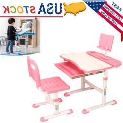 Adjustable Pink Children's Study Desk Table Chair Set Child
