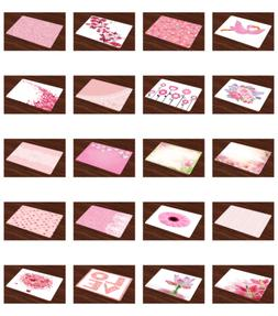 Pink and White Placemats Set of 4 Washable Fabric Place Mats