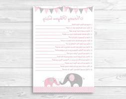 Pink Chevron Elephant Baby Shower Nursery Rhyme Quiz Game Pr