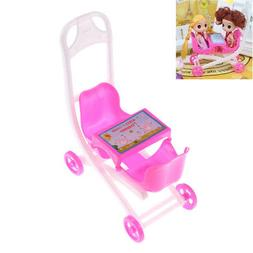 Pink Cute doll 2 Baby Stroller Girl's Gift Doll Accessories