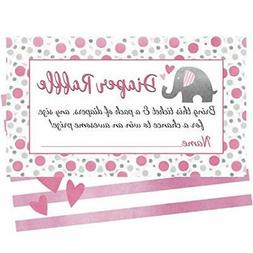 Pink Elephant Diaper Raffle Tickets - 50 Cards for Fun Girl