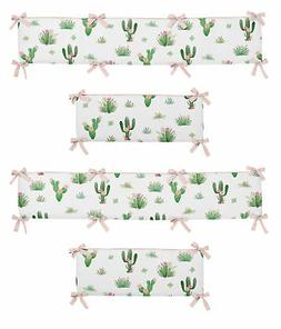 Pink and Green Boho Watercolor Baby Crib Bumper Pad for Cact