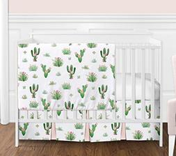 Pink and Green Boho Watercolor Cactus Floral Baby Girl Crib