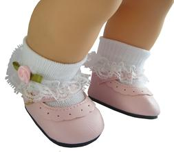 Pink Shoes + Rosebud Socks for Bitty Baby Doll Clothes High