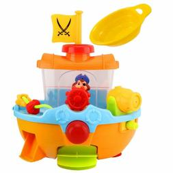 Zooawa Pirate Ship Bath Toy, Squirt Water Boat Toys For Todd